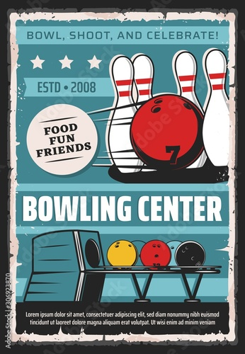 Fotografija Bowling center, sport game club and league tournament vintage retro poster