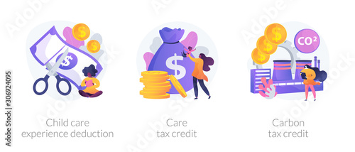 Cuadros en Lienzo Tax deduction, exemption and credit icons set