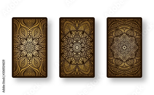 Floral stylized golden pattern. Collection back side of cards Canvas Print