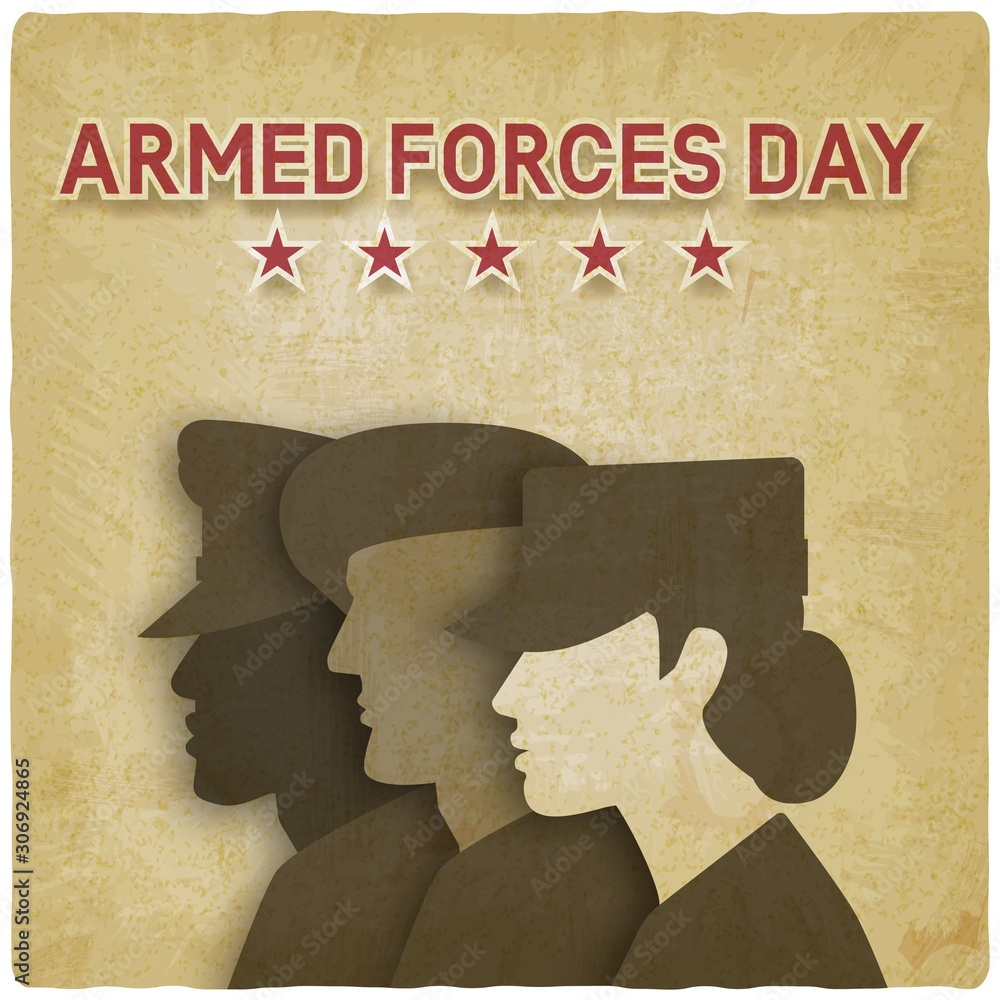 Fototapeta Three uniformed soldiers on vintage background. Armed forces day card