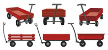 Garden Cart Cartoon Vector Illustration On White Background. Farm Wheelbarrow Set Icon.Vector Illustration Set Icon Equipment Of Garden Cart.
