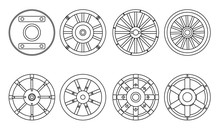 Wooden Wheel Vector Line Set Icon.Vector Illustration Cart Of Wheel. Isolated Line Icon Cartwheel For Wagon On White Background .