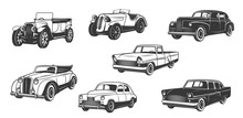 Vintage Retro Cars Isolated Bl...