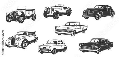 Vintage retro cars isolated black monochrome icons Wallpaper Mural