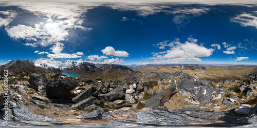 beautiful view of a 360 degree panoramic photograph on an Andean summit within the central mountain range of Huaytapallana Canvas Print