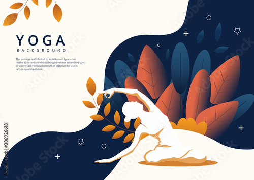 Vector image of a young woman doing yoga on a colorful abstract background Wallpaper Mural