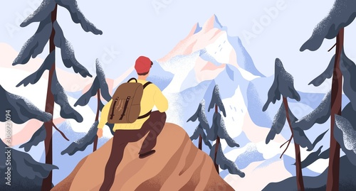 Obraz Mountain hiking flat vector illustration. Backpacker exploring wild nature. New horizons and goals concept. Man with backpack conquering peak in forest. Outdoor activity, discovery, exploration. - fototapety do salonu