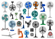 Electric Fan Cartoon Vector Se...
