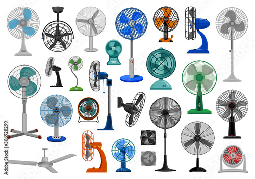 Fototapeta Electric fan cartoon vector set icon.Vector illustration icon air propeller on white background . Isolated cartoon set electric and air fan. obraz