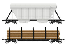 Railroad Cars - Hopper And Log With View From Side. Cargo Train Wagons On White Background Vector Illustration. All Elements In The Groups On Separate Layers For Easy Editing And Recolor