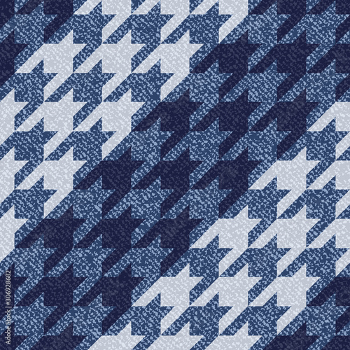 Photo Jeans background with Houndstooth Tartan geometric print fashion design