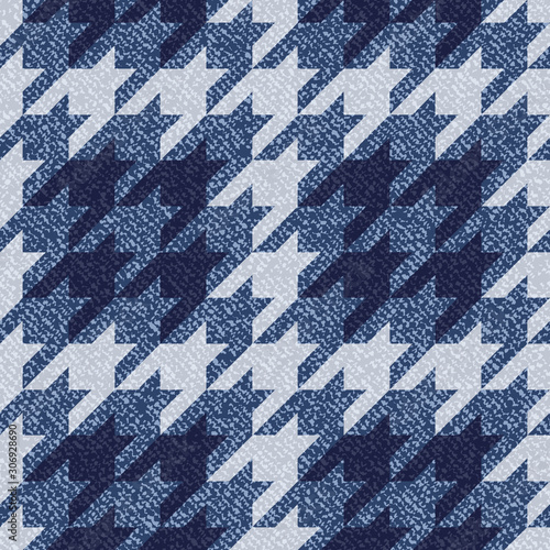 Jeans background with Houndstooth Tartan geometric print fashion design Canvas Print