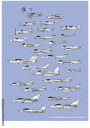 History of british fighters Wallpaper Mural