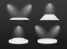 Set Of White Template. 3d Base Stand Podium Or Studio Pedestal Round Platform Showroom Illustration.