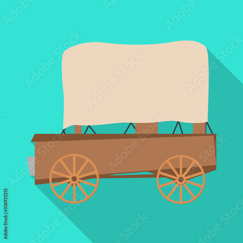 Vector illustration of stagecoach and old logo Tablou Canvas