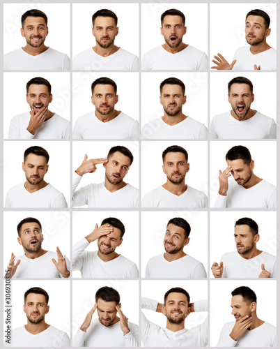 Cuadros en Lienzo  collage of portraits of handsome bearded man with different positive and negativ