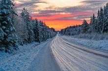 Winter Road In Varmland Sweden...