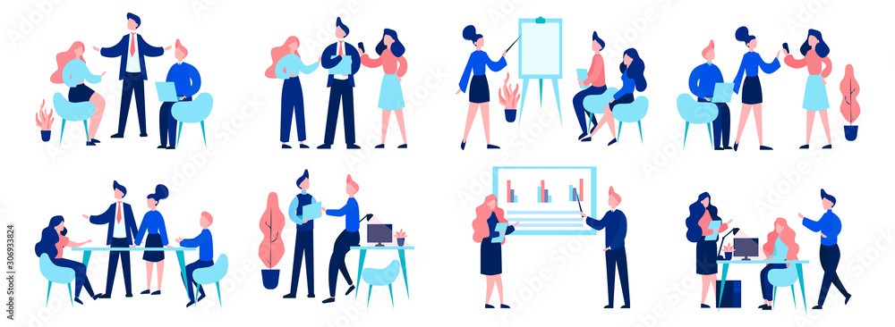 Fototapeta Group of business people at work, office meeting, teamwork