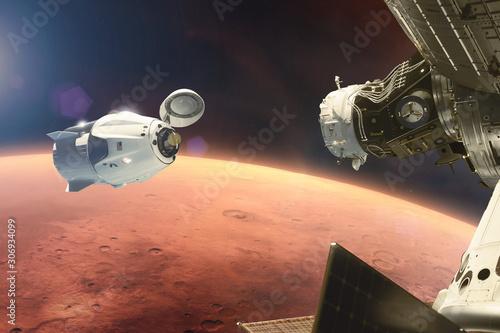 Fotomural Cargo spacecraft in low-Mars orbit
