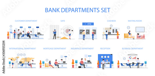 Valokuvatapetti Bank departments set