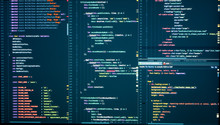 Programming With HTML, PHP And Javascript. Backend Source Code On Monitor