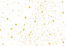 Vector Illustration Gold Glitter And Stars Light Texture Abstract Background, Holiday Event Festive Concept