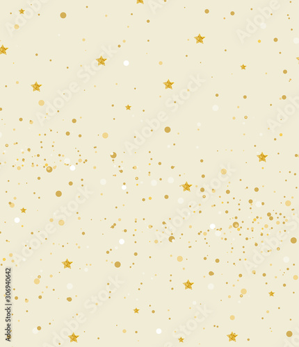Vector illustration gold glitter and stars light texture abstract background, holiday event festive concept - 306940642