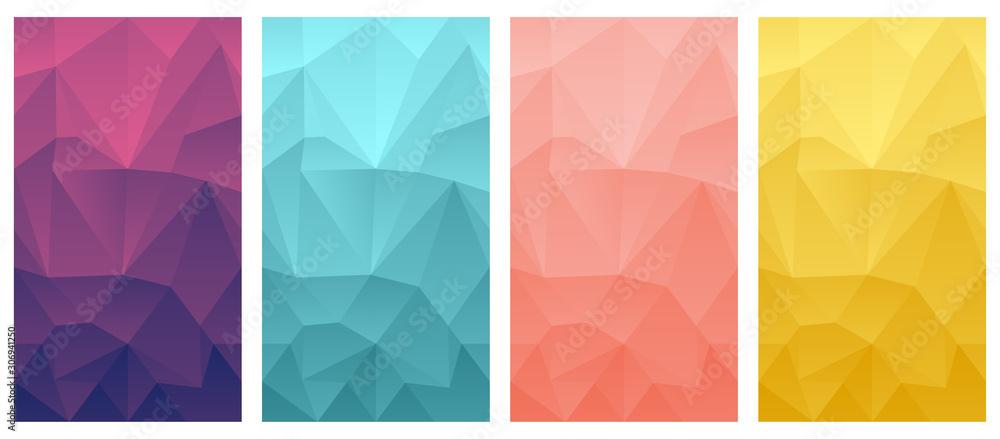 Fototapeta vector polygonal mobile phone wallpaper background set triangle design