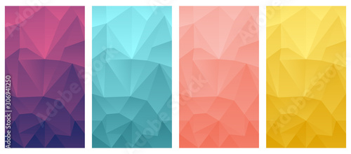 vector polygonal mobile phone wallpaper background set triangle design