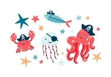 Pirate Fish Illustrations Set....