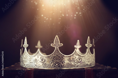 low key image of beautiful queen/king crown over wooden table Canvas