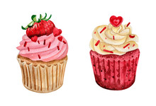 Watercolor Illustration Of Sweet And Tasty Cupcakes With Cream Delicious Food Illustration.