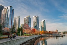 Beautiful Shot Of The High-rise Buildings In Coal Harbour, Vancouver