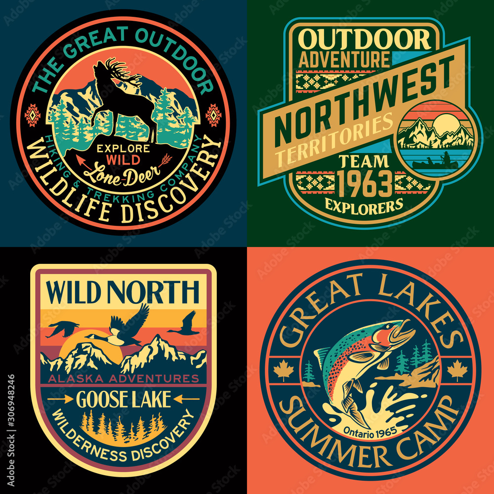Fototapeta The great north outdoor vintage adventure vector patch collection