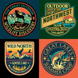 The great north outdoor vintage adventure vector patch collection