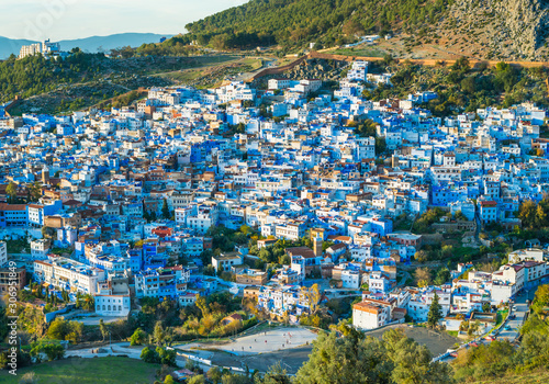 View of Chefchaouen blue town on the hill in Morocco