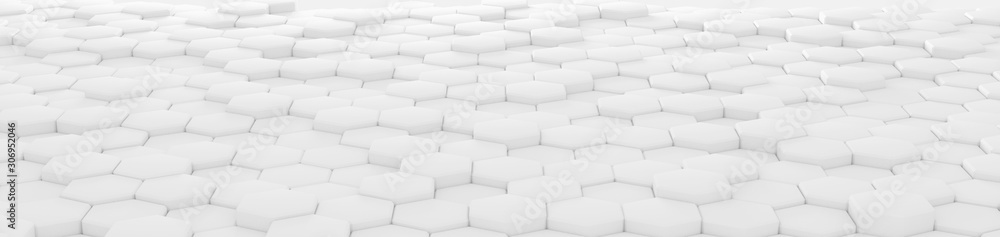 Perspective header hexagonal background with the effect of depth of field. A large number of white hexagons. Cellular, white 3d panel. wall texture, hexagonal clusters