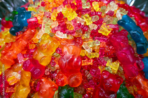 close up of assorted marmalade bears on the counter in a candy store Wallpaper Mural