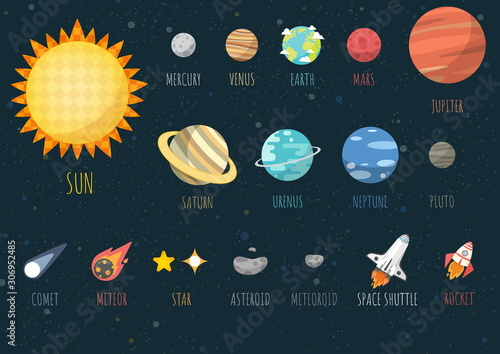 Set of Universe, The Colorful Solar System. Planet and space element on universe background. Vector illustration in cartoon style.