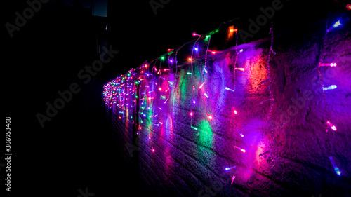 luces de navidad color neon Canvas Print