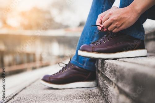 man with shoes ,let is go Tableau sur Toile