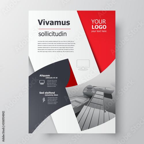 Obraz Flyer brochure design, business flyer size A4 template, creative leaflet red color - fototapety do salonu