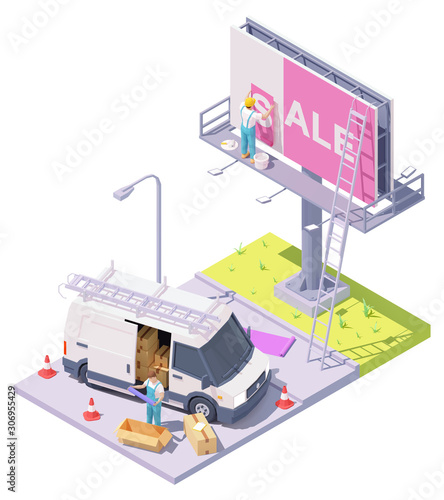 Vector isometric low poly billboard advertising installation illustration, worke Canvas Print
