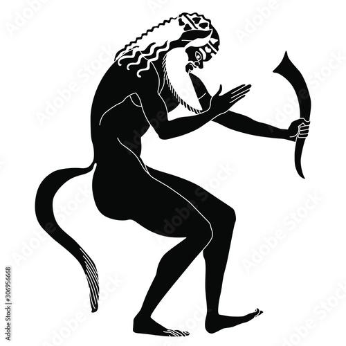 Photo Drunken ancient Greek satyr holding rhyton of wine
