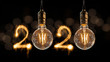 Luxury beautiful retro or vintage dirty light bulb decor hanging with 2020 Happy new year concept written number by sparkle firework