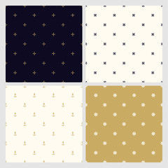 Set of seamless minimalistic stylish patterns. Luxury trendy simple backgrounds. Creative elegant textures