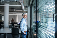 A Mature Businessman Standing In An Office, Looking Out Of Window.