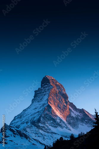 Fototapeta The famous mountain Matterhorn peak with cloudy and blue sky from Gornergrat, Zermatt, Switzerland obraz