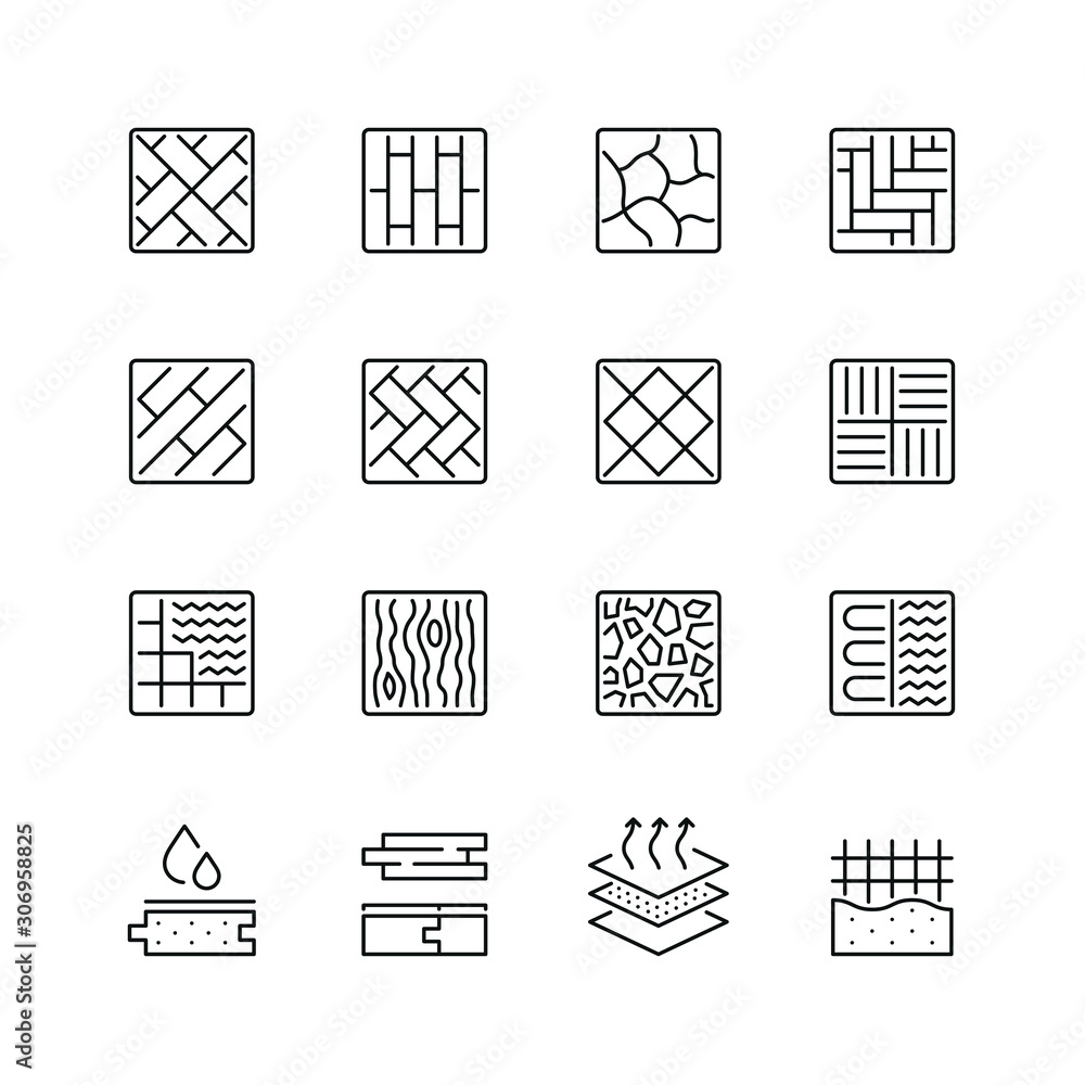 Fototapeta Floor and material related icons: thin vector icon set, black and white kit