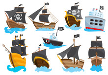 Set Of Wooden Pirate Buccaneer Filibuster Corsair Sea Dog Ship Icon Game, Isolated Flat Design. Color Cartoon Frigate. Vector Illustration